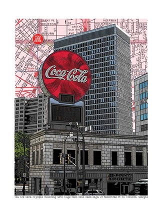 Framed Coca Cola Atlanta, Georgia Print