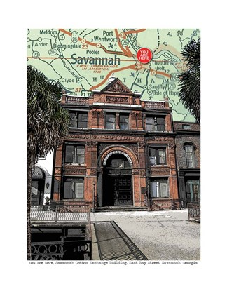 Framed Cotton Exchange Savannah with Trees Print