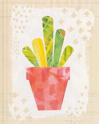 Framed Collage Cactus VI on Graph Paper Print