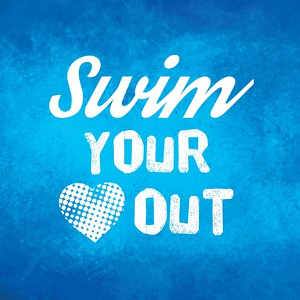 Framed Swim Your Heart Out - Blue Vintage Print
