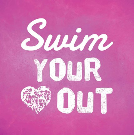 Framed Swim Your Heart Out - Pink Print