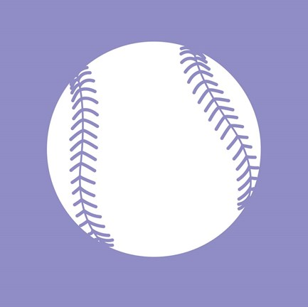 Framed White Softball on Purple Print