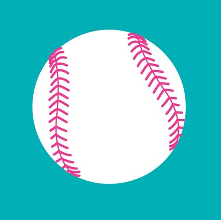 White Softball On Teal Fine Art Print By Sports Mania At