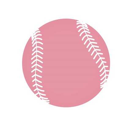 Framed Baby Pink Softball on White Print