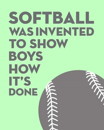 Framed Softball Quote - Grey On Mint Print
