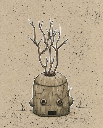 Framed Ink Marker Bot Tree Pot Print