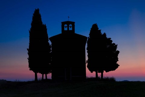 Framed Dusk at Vitaleta Chapel Print