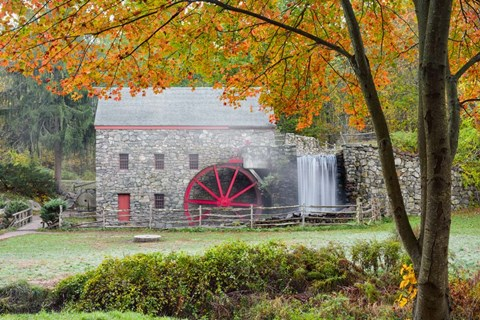 Framed Autumn at the Grist Mill Print