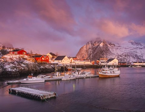 Framed First Light on Hamnoy Harbor Print