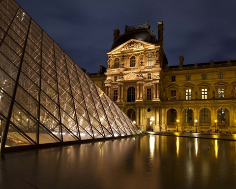 Framed Ornate Glass and Masonry at the Louvre Print