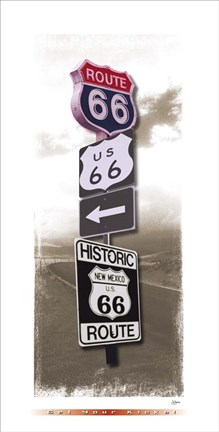 Framed Signs of Route 66 I Print