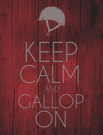 Framed Keep Calm and Gallop On - Red Print