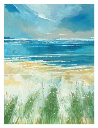Framed Summer Sea and Beach at Holkham Print