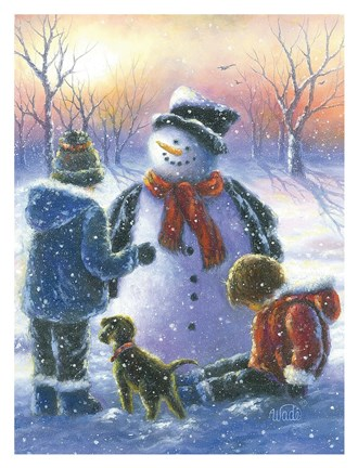 Framed Chubby Snowman Boy & Girls Print