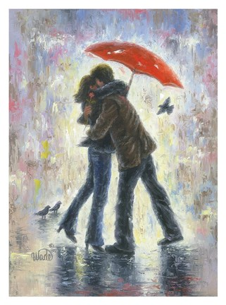Framed Kiss in the Rain Print