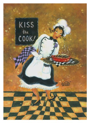 Framed Kiss the Cook Print