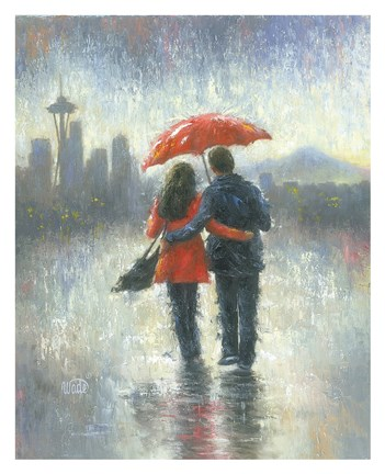 Framed Seattle Lovers in the Rain Print
