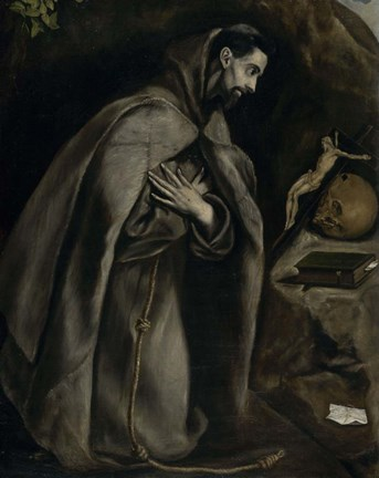 Framed Saint Francis in Prayer Before a Crucifix, c. 1590 Print
