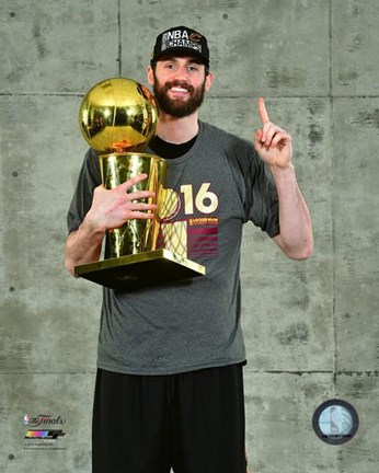 Framed Kevin Love with the NBA Championship Trophy Game 7 of the 2016 NBA Finals Print