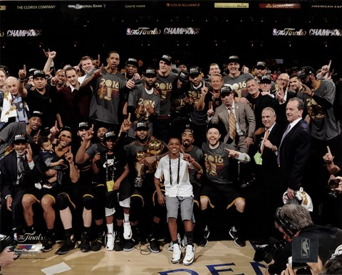 Framed Cleveland Cavaliers celebrate winning Game 7 of the 2016 NBA Finals Print