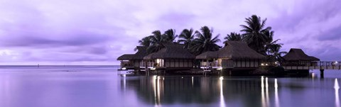 Framed Resort at Dusk, Tahiti, French Polynesia Print