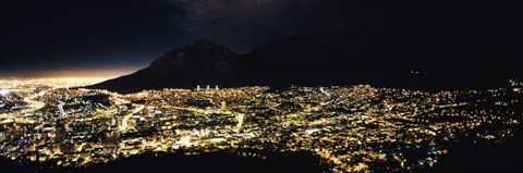 Framed Cape Town at Night,  South Africa Print