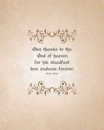 Framed Psalm 136:26, Give Thanks (Beige) Print