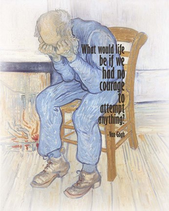 Framed Courage - Van Gogh Quote 2 Print
