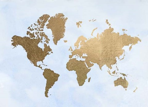 Framed Large Gold Foil World Map on Blue - Metallic Foil Print