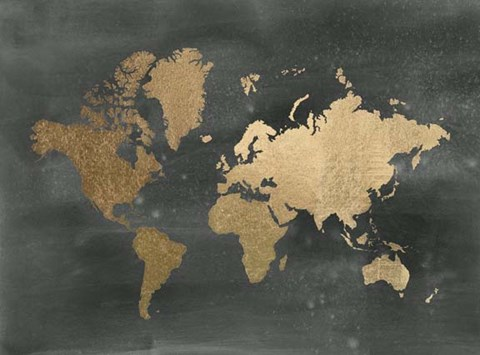 Framed Large Gold Foil World Map on Black - Metallic Foil Print