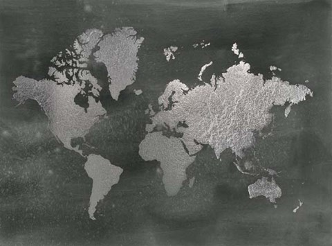 Framed Large Silver Foil World Map on Black - Metallic Foil Print