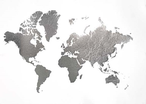 Framed Silver Foil World Map - Metallic Foil Print