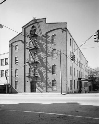 Framed GENERAL VIEW, MAIN ST. FACADE AT LEFT, THIRTEENTH ST. SIDE AT RIGHT - Bowman and Moore Leaf Tobacco Factory, Main and Thirteenth Print