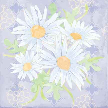 Framed Daisy Patch Serenity I Print