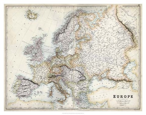 Framed Pastel Map of Europe Print