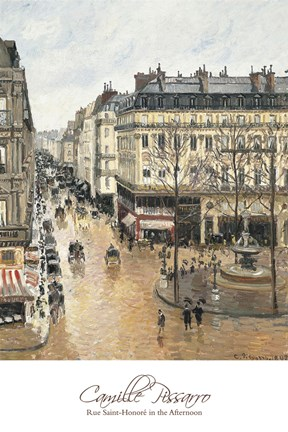 Framed Rue Saint-Honore in the Afternoon. Effect of Rain, 1897 Print
