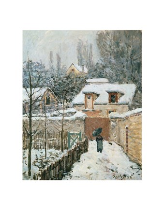 Framed Snow at Louveciennes, 1874 Print