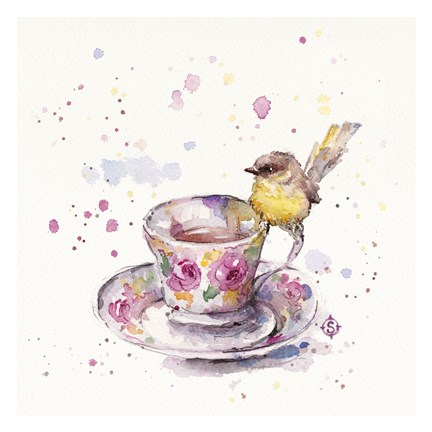 Framed Tea Time (Eastern Yellow Robin) Print