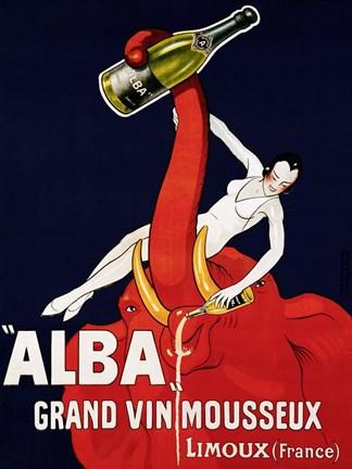 "Framed """"Alba"""" Grand Vin Mousseux, ca. 1928 Print"