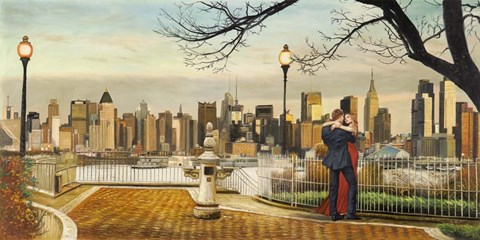Framed Lovers in New York Print