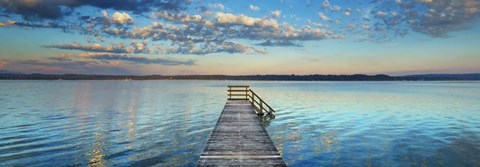 Framed Boat Ramp And Filigree Clouds, Bavaria, Germany Print