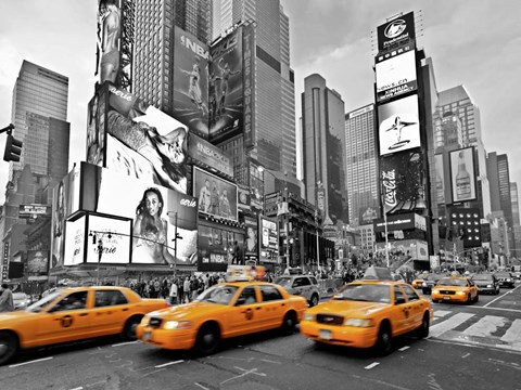 Framed Taxis in Times Square, NYC Print