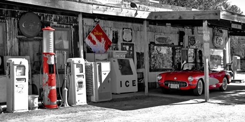 Vintage Gas Station On Route 66 Fine Art Print By Vadim