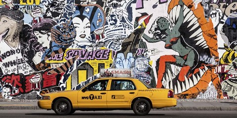 Framed Taxi and Mural Painting in Soho, NYC Print