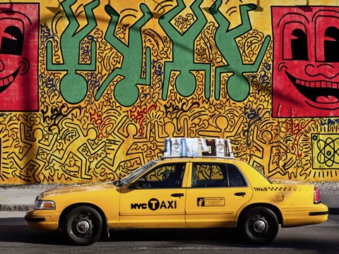 Framed Taxi and Mural painting, NYC Print