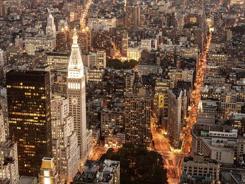 Framed Aerial View of Manhattan with Flatiron Building, NYC Print