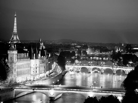 Framed Paris and Seine River at Night Print