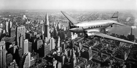 Framed DC-4 over Manhattan, NYC Print