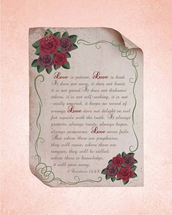 Framed Corinthians 13:4-8 Love is Patient - Rose Border Pink Print