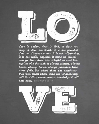 Framed Corinthians 13:4-8 Love is Patient - Chalkboard Print